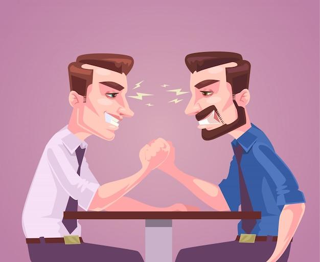 Charakter biznesmenów mierzony siłą ręką. ilustracja kreskówka płaski