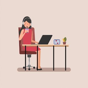 Charakter businesswoman zadowolony z pracy scena animacji.
