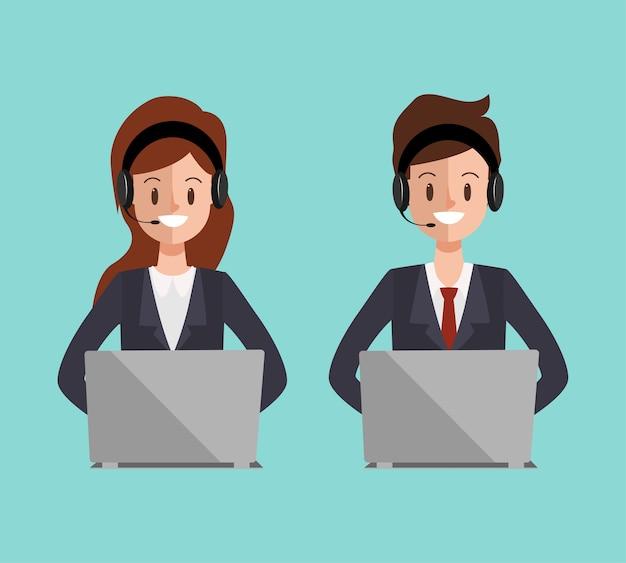 Charakter call center do komunikacji usługi online.