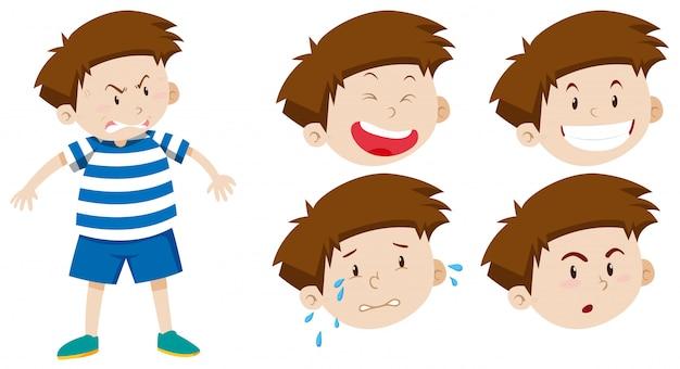 Charakter chłopiec z wyrazem twarzy