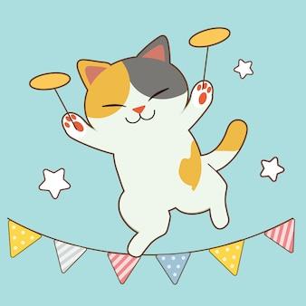 Charakter cute cat show, grając na talerzu i stojąc na fladze.