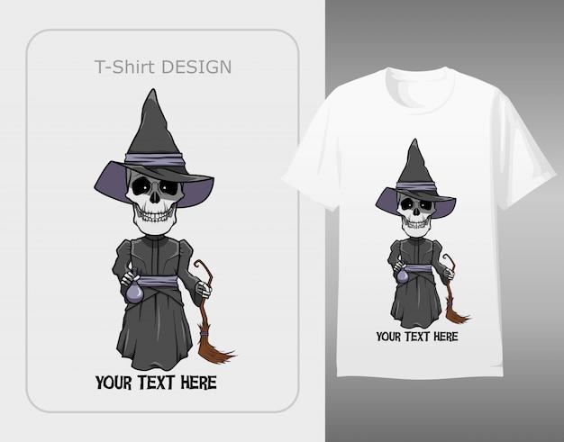 Charakter czaszki nosić kostium czarownicy halloween