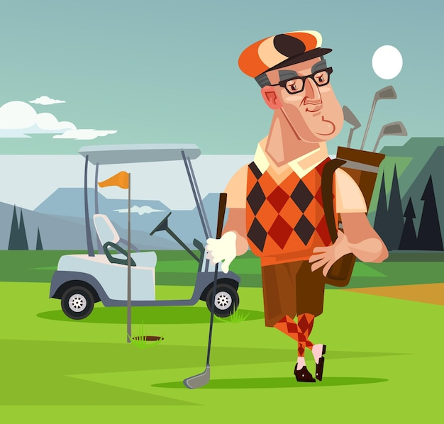 Charakter człowieka gracza golfa. kreskówka