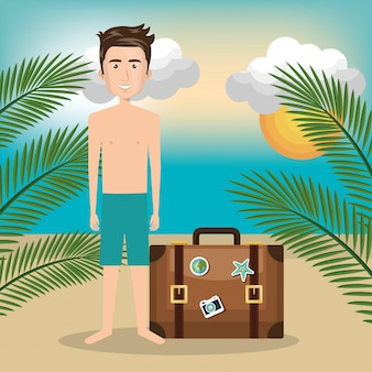 Charakter człowieka na plaży