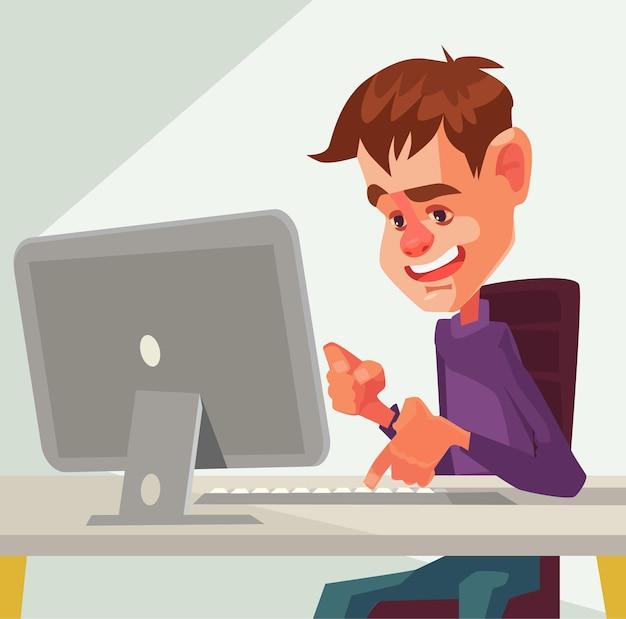 Charakter człowieka pracy przy komputerze. ilustracja kreskówka płaska