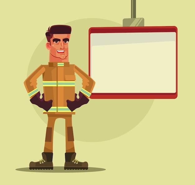 Charakter człowieka strażak udzielający lekcji.