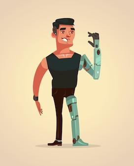 Charakter człowieka ze sztucznymi częściami ciała.