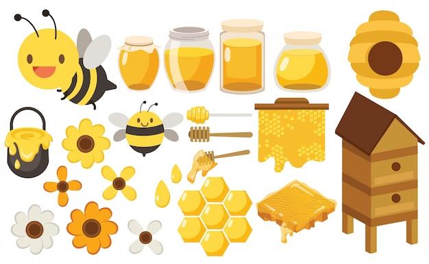 Charakter duży zestaw pszczoły miodnej