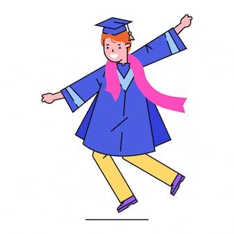 Charakter dziewczyna ukończenia szkoły, absolwent szkoły posiadają dyplom w kapeluszu na białym, ilustracja. ukończenie szkoły średniej.