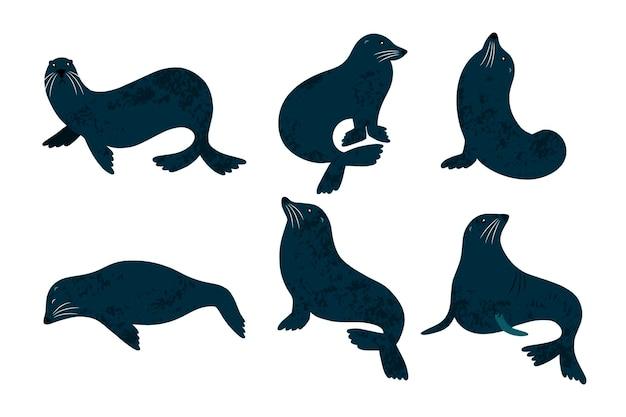 Charakter foki na białym tle na białym tle. consest z 6 ręcznie rysowanych fok.