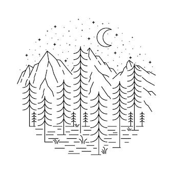 Charakter górski dziki ilustracja linia