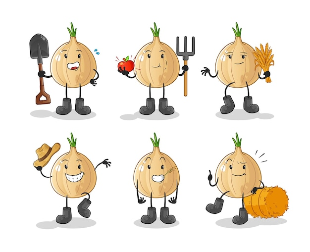 Charakter grupy rolników czosnku. kreskówka maskotka