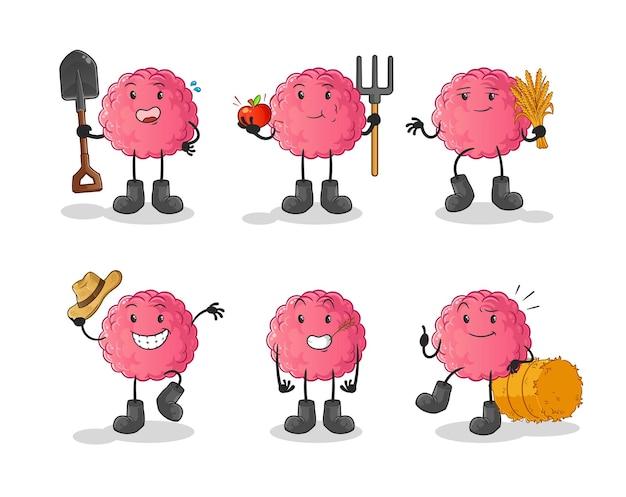 Charakter grupy rolników mózgów. kreskówka maskotka
