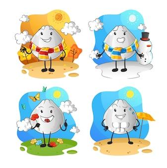 Charakter grupy sezonowej bułki mięsnej. kreskówka maskotka