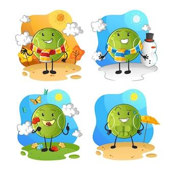 Charakter grupy sezonu piłek tenisowych. kreskówka maskotka