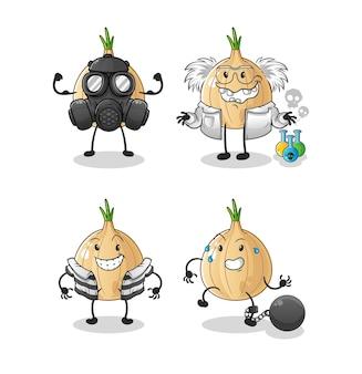 Charakter grupy złoczyńców czosnku. kreskówka maskotka