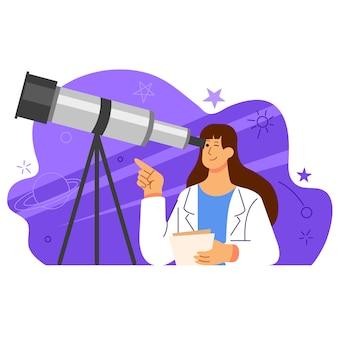 Charakter ilustracja kobiece naukowiec astronomii