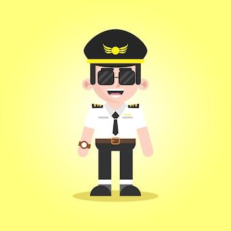 Charakter ilustracja kreskówka mężczyzna pilota