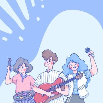 Charakter ilustracja kreskówka muzyków. zespół muzyczny.