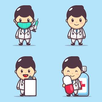 Charakter ilustracja ładny zestaw lekarza
