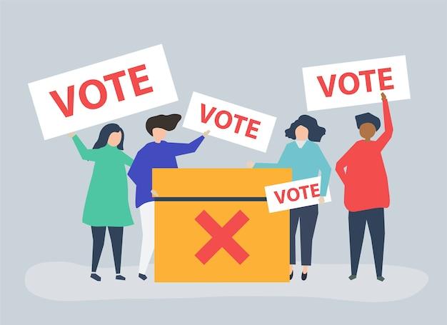 Charakter ilustracja ludzi z ikon głosowania
