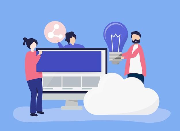 Charakter ilustracja ludzi z ikonami technologii