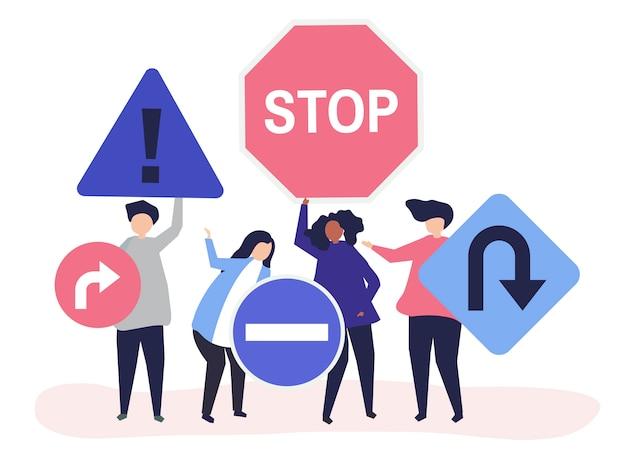 Charakter ilustracja ludzi z ikonami znak drogowy