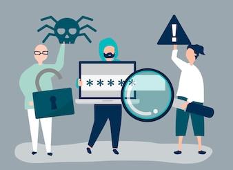 Charakter ilustracja ludzie z cyber przestępstw ikonami