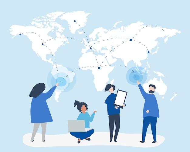 Charakter ilustracja ludzie z globalnej sieci pojęciem
