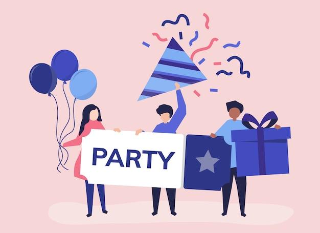 Charakter ilustracja ludzie z partyjnymi ikonami