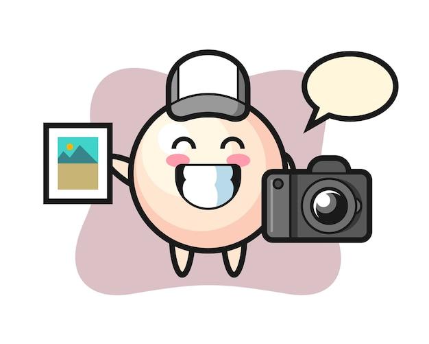 Charakter ilustracja perły jako fotograf