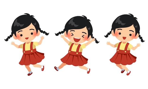 Charakter ilustracja śliczna szczęśliwa i skacząca dziewczyna