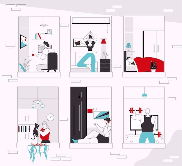 Charakter ilustracja wektorowa ludzi w oknach. mężczyzna, kobieta zostaje w domu, wykonuje czynności: praca zdalna, treningi sportowe, joga, opieka nad zwierzętami, rozmowy telefoniczne, odpoczynek i sen. codzienna rutyna w samoizolacji