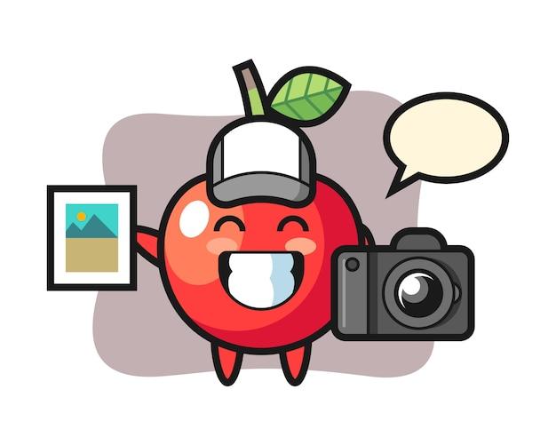 Charakter ilustracja wiśni jako fotograf, ładny styl
