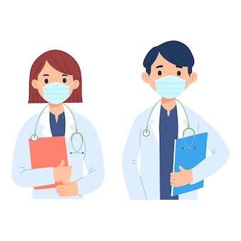 Charakter ilustracja zawodu lekarzy, którzy noszą maski