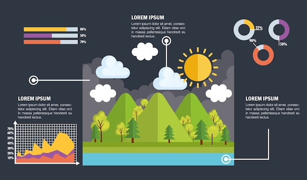 Charakter infographic szablon ikony