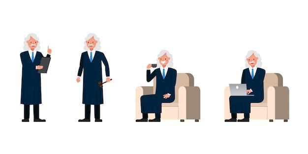 Charakter judge man. prezentacja w różnych działaniach.