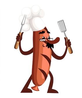 Charakter kiełbasy grillowej. maskotka kiełbasa trzyma narzędzia do grillowania. pojęcie kucharza. ilustracja na białym tle. projekt strony internetowej i aplikacji mobilnej