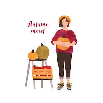 Charakter kobieta rolnik z dyni ręcznie rysowane postać na białym tle. projekt plakatu targów jesiennych zbiorów z napisem. kobieta z warzywami ilustracja kreskówka.