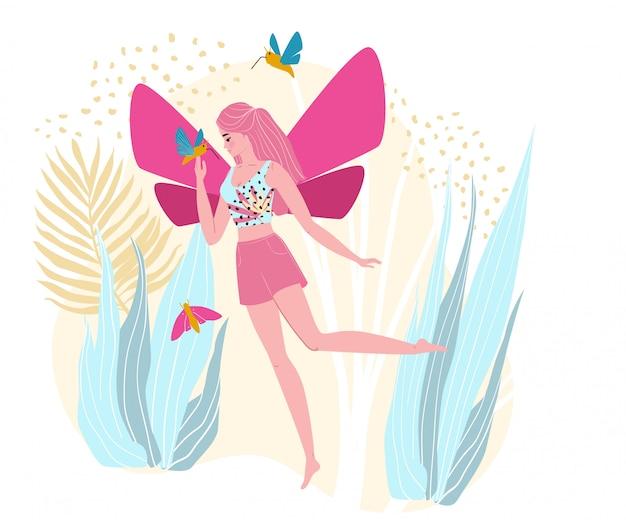 Charakter kobiety czarodziejka, lot w plenerowym parku, fantazja teren, odizolowywający na białej, płaskiej ilustraci ,. urocza magiczna suczka ze skrzydłami.