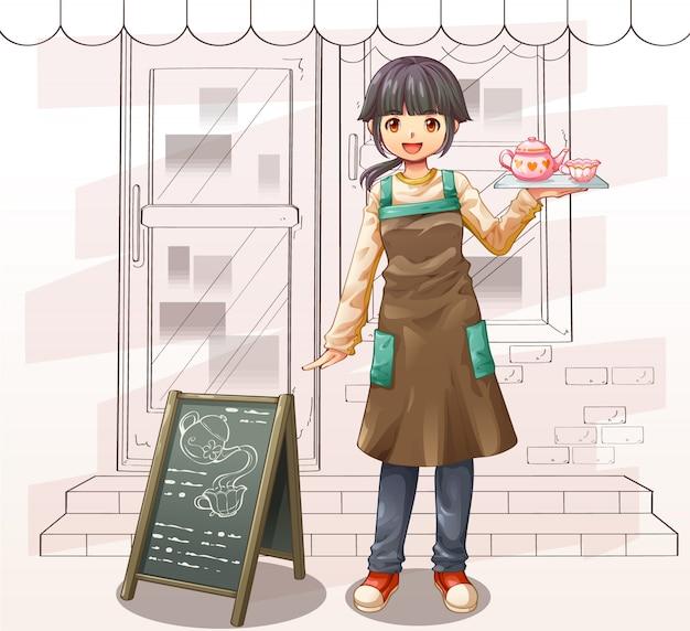 Charakter kreskówka kelnerka i sklep z kawą wektor