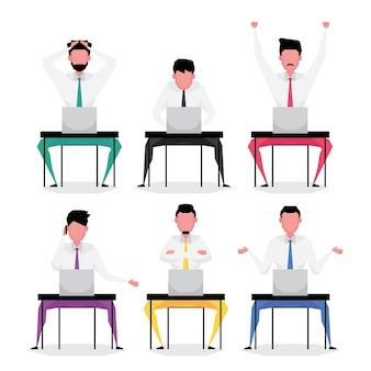 Charakter kreskówka zestaw biznesmen cech ludzi siedzących i pracujących na komputerze