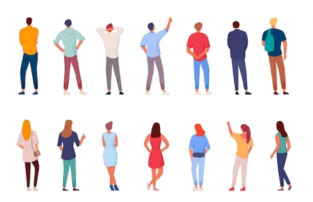 Charakter ludzi. mężczyzna i kobieta widok z tyłu zestaw na białym tle. różnorodność młodych ludzi. biznesmeni, student, zestaw pracowników. ludzie stojący wektor ilustracja postaci