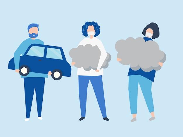 Charakter ludzi posiadających symbole zanieczyszczenia powietrza