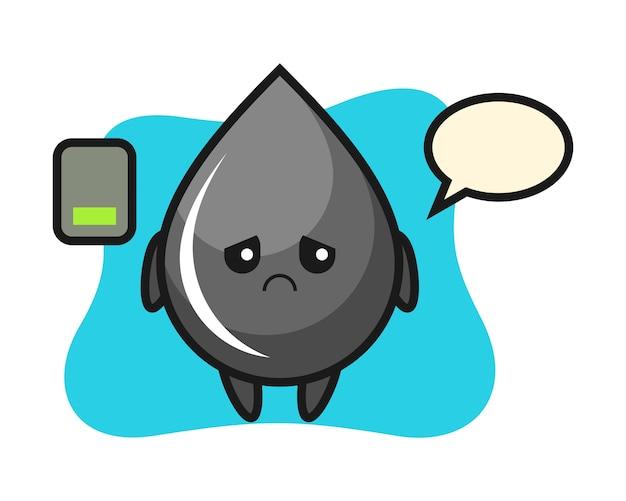 Charakter maskotka kropla oleju robi zmęczony gest