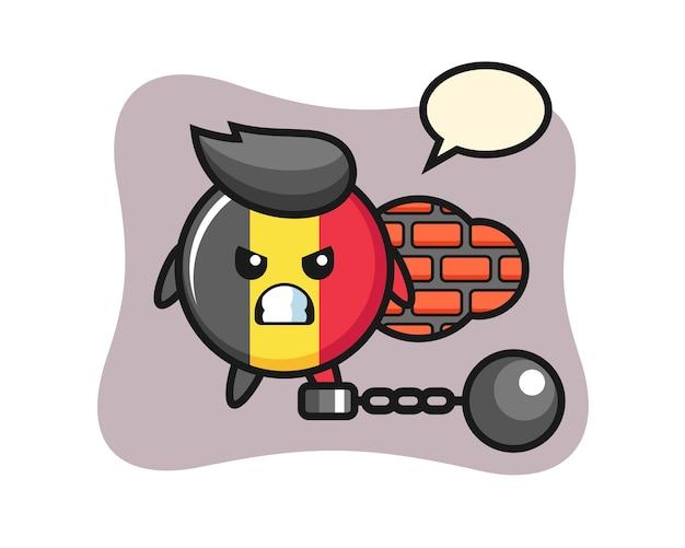 Charakter maskotka odznaka flaga belgii jako więzień