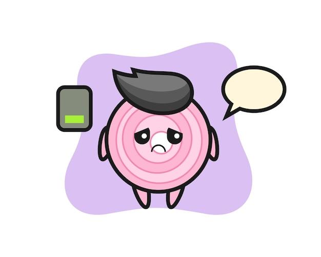 Charakter maskotka pierścieni cebuli robi zmęczony gest, ładny styl na koszulkę, naklejkę, element logo