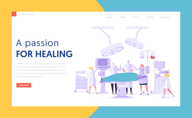Charakter medyczny wykonujący operację chirurgiczną koncepcja landing page. zespół ludzi w nowoczesnej sali operacyjnej z nowym sprzętem. witryna lub strona internetowa szpitala medycznego. ilustracja wektorowa płaski kreskówka