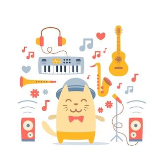 Charakter męski kot muzyk z instrumentami muzycznymi