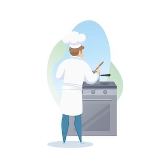 Charakter męski kucharz przygotowuje danie na talerzu
